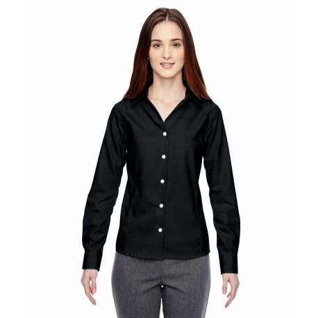 North End Sport Blue 78690 Ladies' Precise Wrinkle-Free Two-Ply 80's Cotton Dobby Taped Shirt