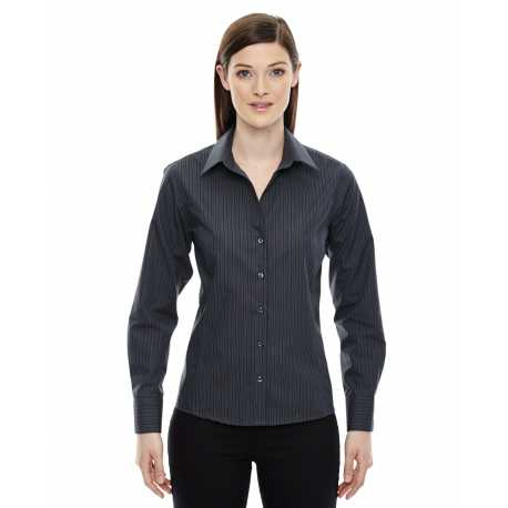 North End Sport Blue 78674 Ladies' Boardwalk Wrinkle-Free Two-Ply 80's Cotton Striped Tape Shirt