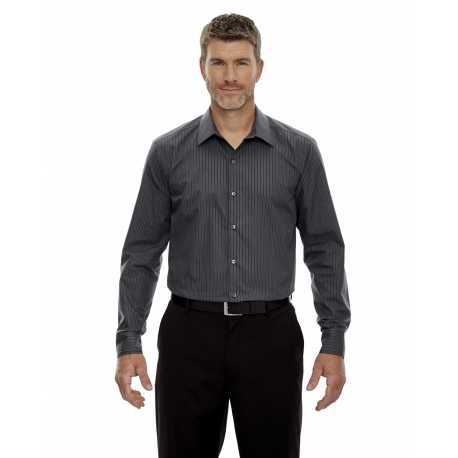 North End Sport Blue 88674 Men's Boardwalk Wrinkle-Free Two-Ply 80's Cotton Striped Tape Shirt