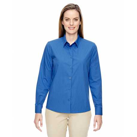 North End 77044 Ladies' Align Wrinkle-Resistant Cotton Blend Dobby Vertical Striped Shirt