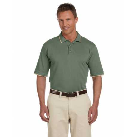Harriton M210 Adult 6 oz. Short-Sleeve Pique Polo with Tipping