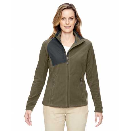 North End 78215 Ladies' Excursion Trail Fabric-Block Fleece Jacket