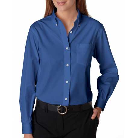 Van Heusen 13V0110 Ladies' Long-Sleeve Blended Pinpoint