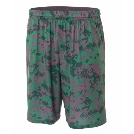 "A4 NB5322 Youth 8"" Inseam Printed Camo Performance Shorts"