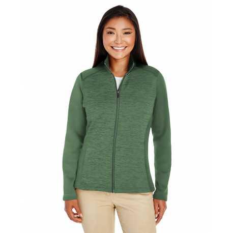 Devon & Jones DG796W Ladies' Newbury Colorblock Melange Fleece Full-zip