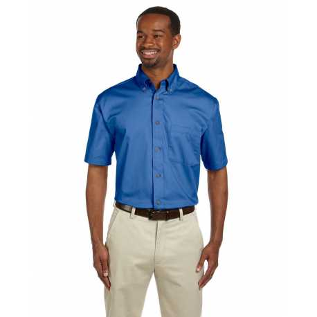 Harriton M500S Men's Easy Blend Short-Sleeve Twill Shirt with Stain-Release