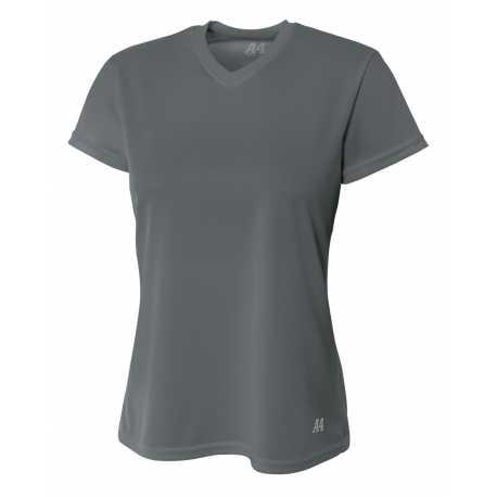A4 NW3254 Ladies' Shorts Sleeve V-Neck Birds Eye Mesh T-Shirt