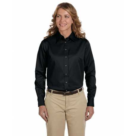 Harriton M500W Ladies' Easy Blend Long-Sleeve Twill Shirt with Stain-Release