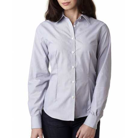 Van Heusen V0421 Ladies' Long-Sleeve Non-Iron Feather Stripe
