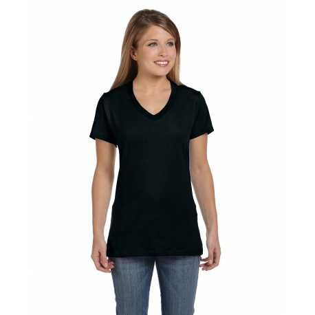 Hanes S04V Ladies' 4.5 oz., 100% Ringspun Cotton nano-T V-Neck T-Shirt