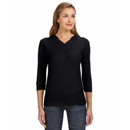 J America JA8153 Ladies' 3/4-Sleeve Hooded Slub T-Shirt