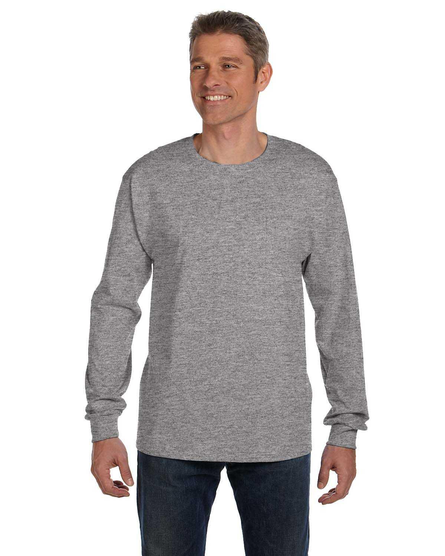 Hanes 5596 men 39 s 6 1 oz tagless long sleeve pocket t for Long sleeve pocket shirts