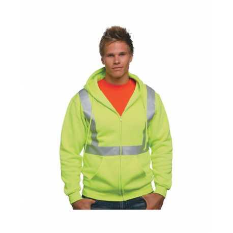 Bayside BA3790 Hi-Visibility Full Zip Hooded Sweatshirt