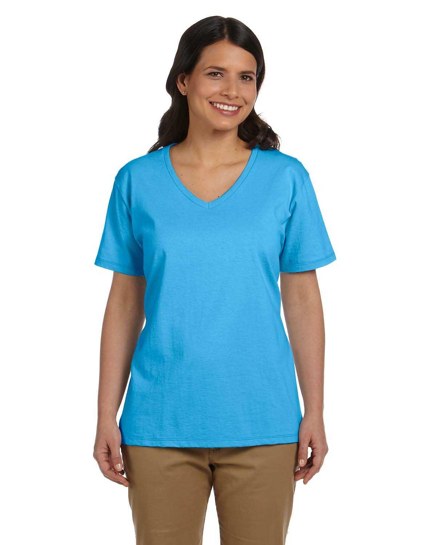 Hanes 5780 ladies 39 6 1 oz tagless v neck t shirt for Hanes comfortsoft tagless t shirt review