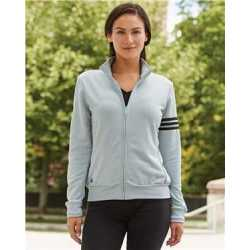 Adidas A191 Women's ClimaLite 3-Stripes French Terry Full-Zip Jacket