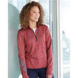 Adidas A285R Women's Brushed Terry Heathered Quarter-Zip Pullover