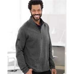 Adidas A463 Heathered Quarter Zip Pullover with Colorblocked Shoulders