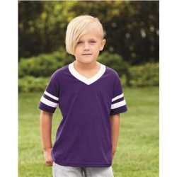 Augusta Sportswear 361 Youth V-Neck Jersey with Striped Sleeves