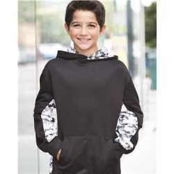 Badger 2464 Digital Camo Youth Colorblock Performance Fleece Hooded Sweatshirt