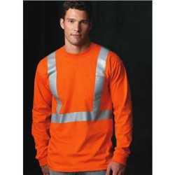 Bayside 3781 USA Made High Visibility Long Sleeve T-Shirt with Pocket