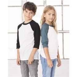 Bella + Canvas 3200Y Youth Three-Quarter Sleeve Baseball Tee