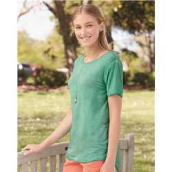 J. America 8127J Women's Oasis Wash Drop Tail T-Shirt