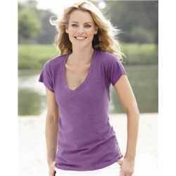 J. America 8169 Women's V-Neck Slub T-Shirt