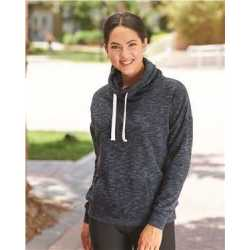 J. America 8673 Women's Melange Fleece Cowl Neck Sweatshirt