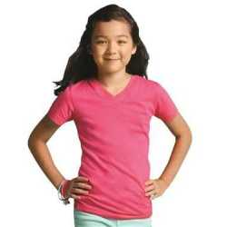 LAT 2607 Girls' V-Neck Fine Jersey T-Shirt