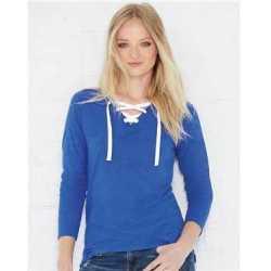LAT 3538 Women's Fine Jersey Lace-Up Long Sleeve T-Shirt