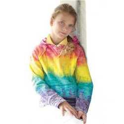 MV Sport W1162Y Girls' Courtney Burnout V-Notch Hooded Sweatshirt