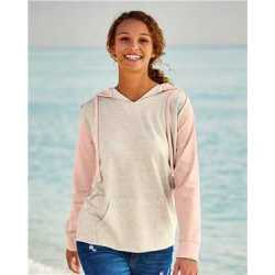 MV Sport W20145 Women's French Terry Hooded Pullover with Colorblocked Sleeves