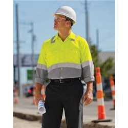 Red Kap SY14L Enhanced & Hi-Visibility Long Sleeve Work Shirt - Long Sizes
