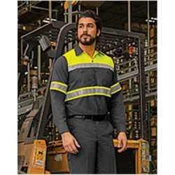 Red Kap SY70L Hi-Visibility Colorblock Ripstop Long Sleeve Work Shirt - TALL
