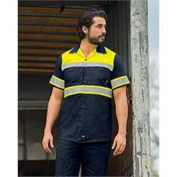 Red Kap SY80L Hi-Visibility Colorblock Ripstop Short Sleeve Work Shirt - TALL