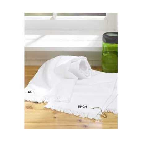 Towels Plus T64GH Fringed Hand Towel with Corner Grommet and Hook