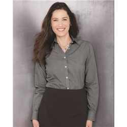 Van Heusen 13V0427 Women's Yarn Dyed Mini Check Long Sleeve Shirt