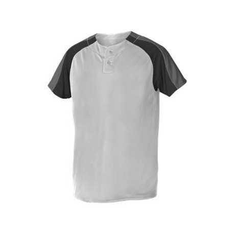 Alleson Athletic 5063CHY Youth Two Button Henley Baseball Jersey