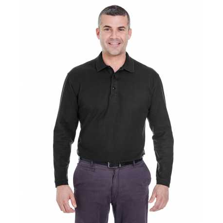 UltraClub 8542 Adult Long-Sleeve Whisper Pique Polo