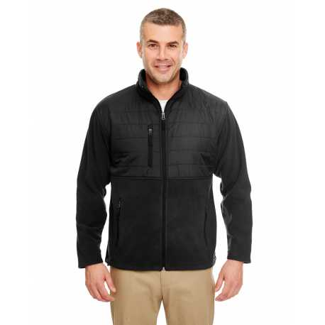 UltraClub 8492 Men's Fleece Jacket with Quilted Yoke Overlay