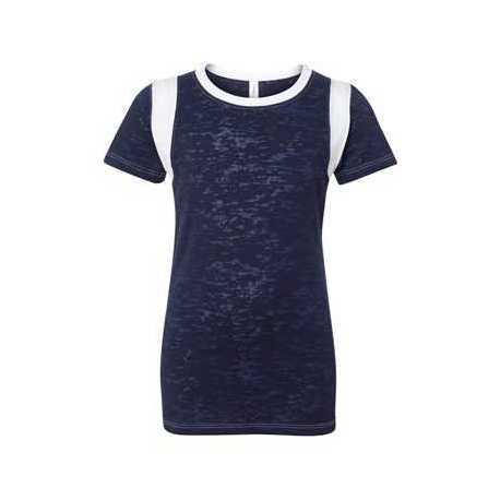 Blue 84 JBIT Juniors' Burnout Crewneck Football T-Shirt