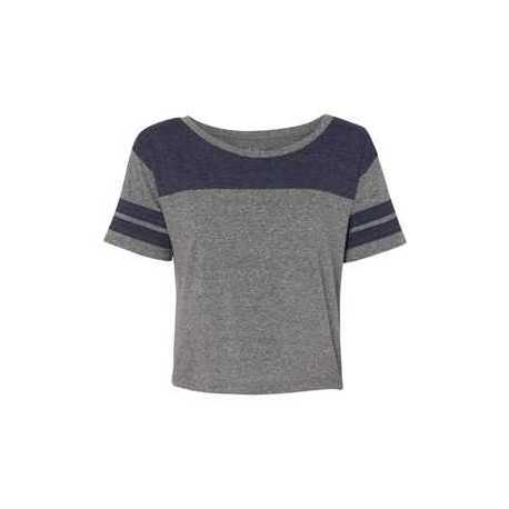 Blue 84 JTCT Juniors' Triblend Striped Crop Tee