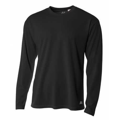 A4 N3253 Men's Long Sleeve Crew Birds Eye Mesh T-Shirt
