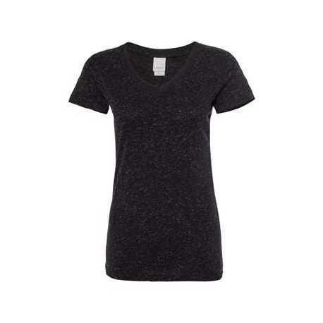 J. America 8136 Women's Glitter V-Neck Short Sleeve T-Shirt