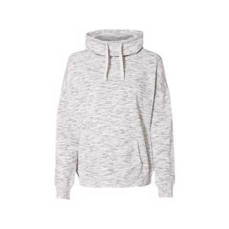 J. America 8673 Women's Melange Fleece Cowl Neck Sweatshirt
