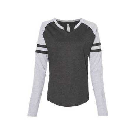 LAT 3534 Women's Fine Jersey Mash Up Long Sleeve T-Shirt