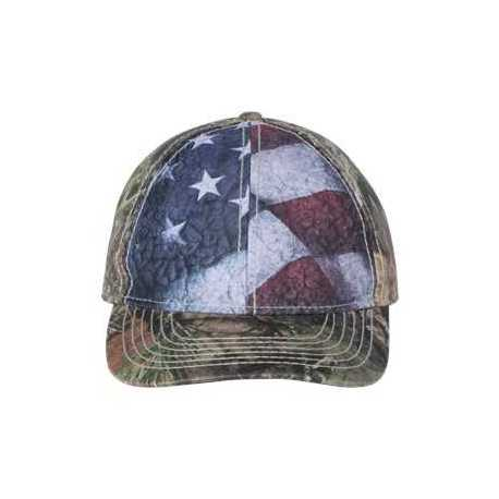 Outdoor Cap SUS100 Camo Cap with Flag Sublimated Front Panels