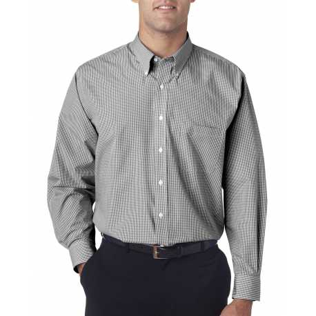 Van Heusen V0225 Men's Long-Sleeve Yarn-Dyed Gingham Check