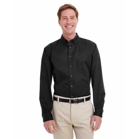 Harriton M581 Men's Foundation 100% Cotton Long-Sleeve Twill Shirt with Teflon