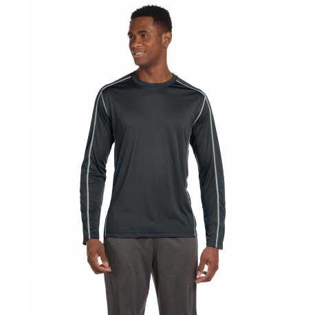 All Sport M3021 Men's Long-Sleeve Interlock Pieced T-Shirt